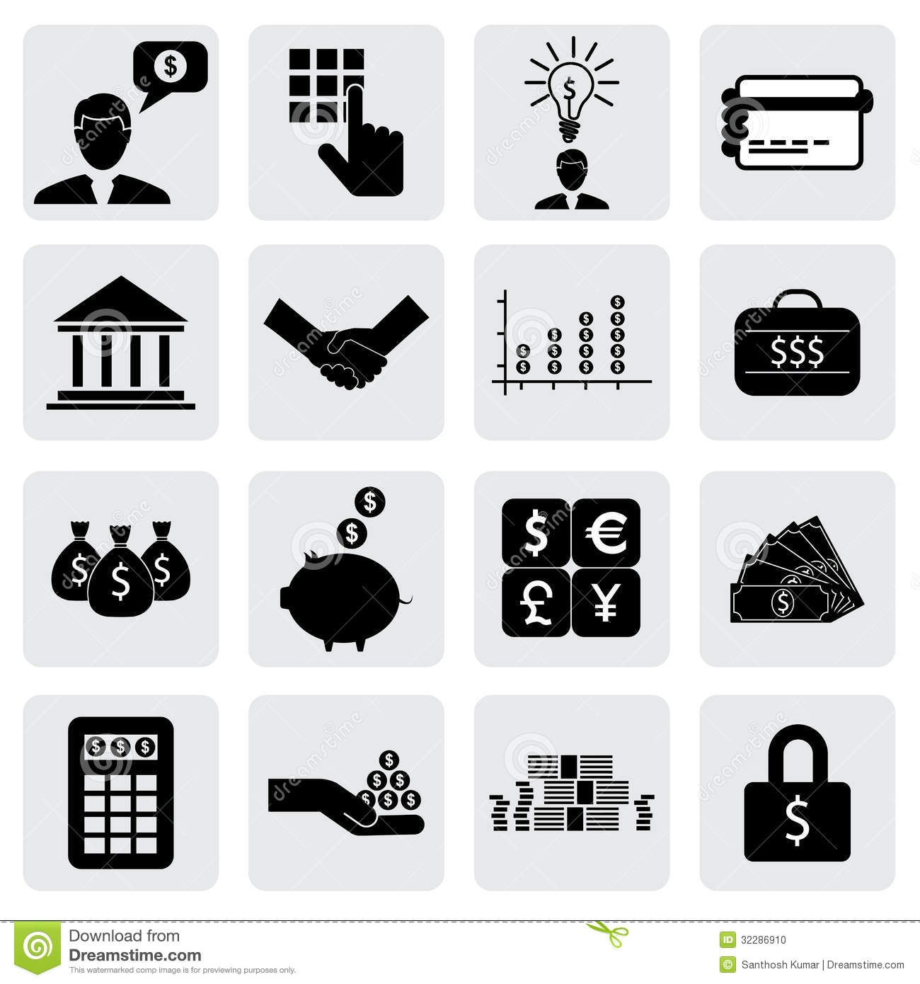Bank Finance Icons Signs Related To Money Wealth Stock Vector Illustration Of Count Growth 32286910