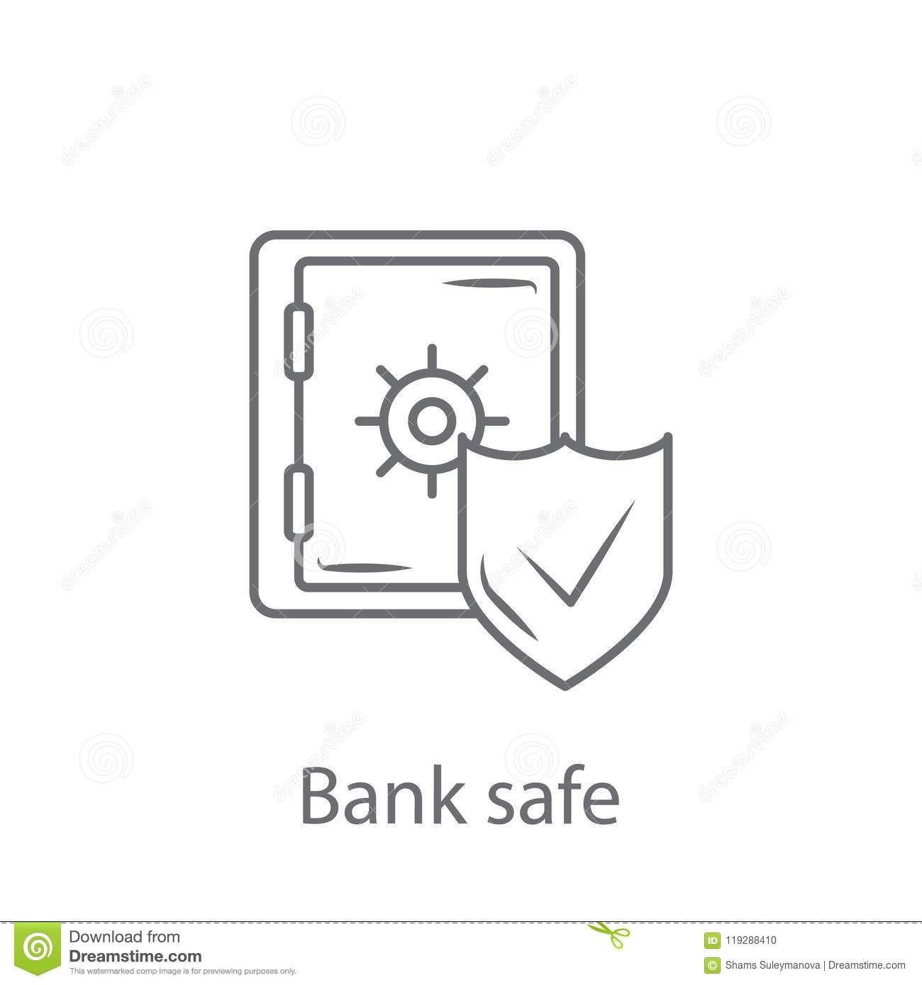 Bank Safe With Shield Icon Simple Element Illustration