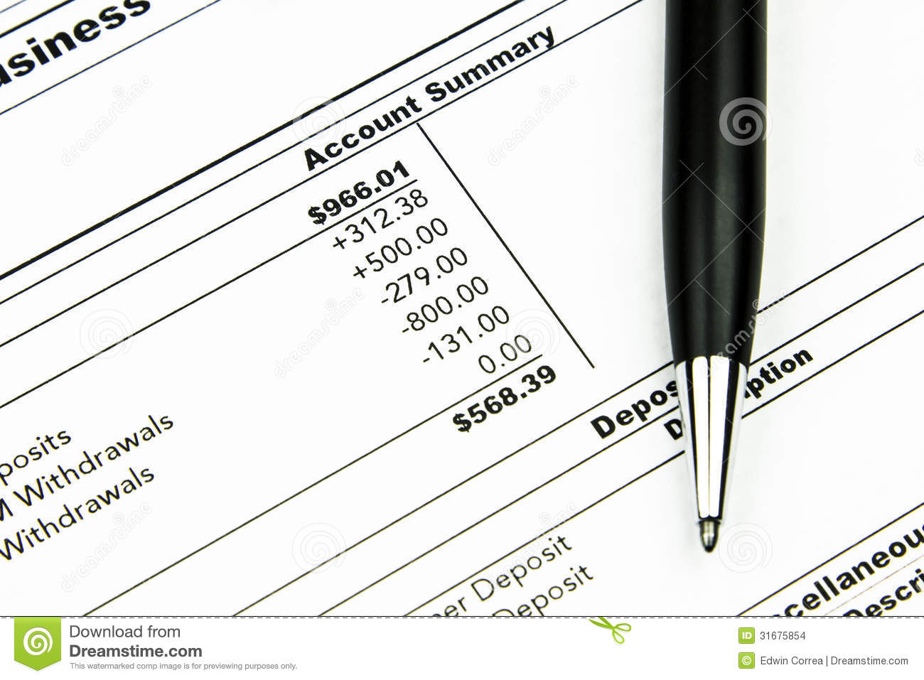 Bank Statement stock photo. Image of wealth, budget, fees