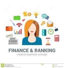 Banking And Finance Infographic Icons Concept Woman Bank