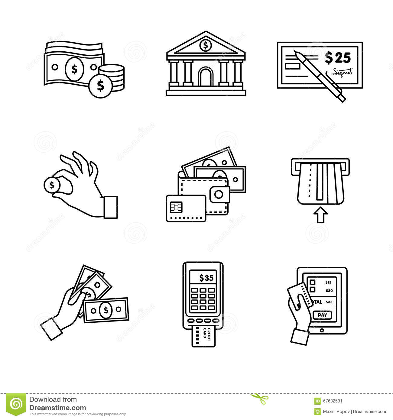 Atm Terminal Vector Thin Line Icons Set Cartoon Vector
