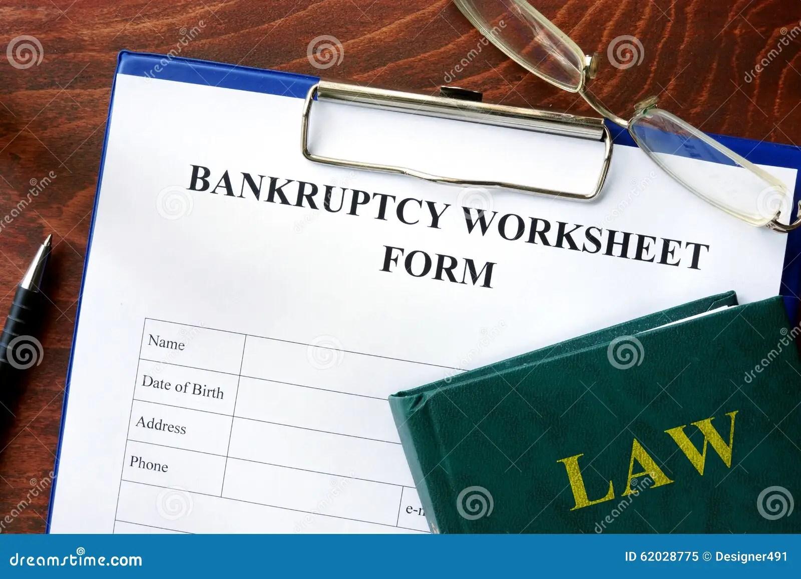 Bankruptcy Worksheet Form Stock Image Image Of Company