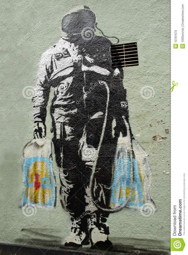Bankys Spaceman Graffiti Art Wall In Bristol