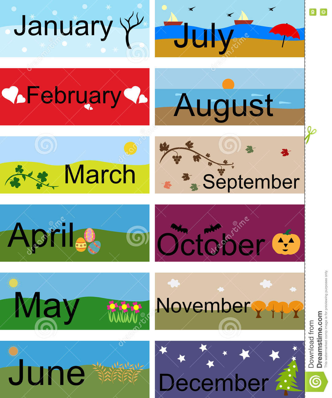Banner For Months Of The Year Cartoon Vector
