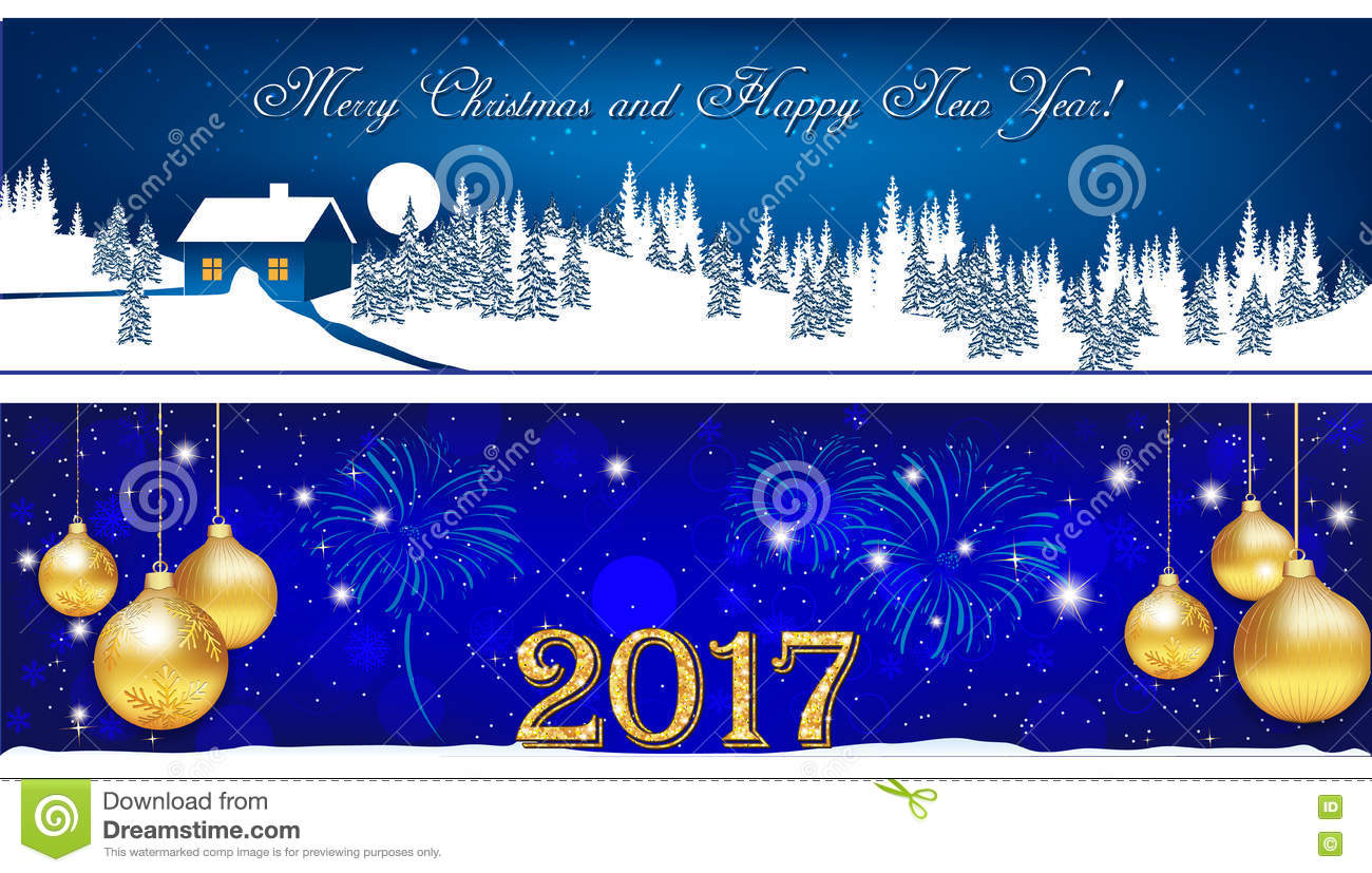 Banner Set For Christmas And New Year 2017 Stock Image