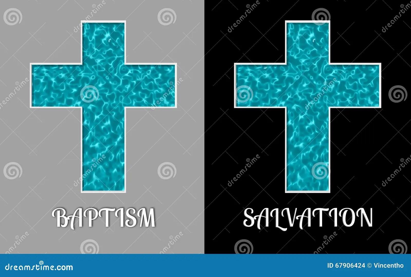 hight resolution of baptism salvation cross holy water pool illustration
