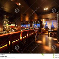 Light Wood Dining Chairs Kitchen Table And Cheap Bar Counter With In Empty Restaurant Royalty Free Stock Photo - Image: 23237765