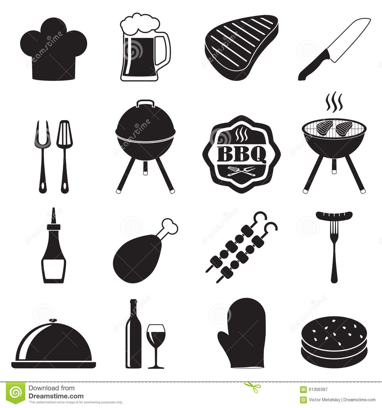 Barbecue Grill Icon Set On White Background Bbq Symbols