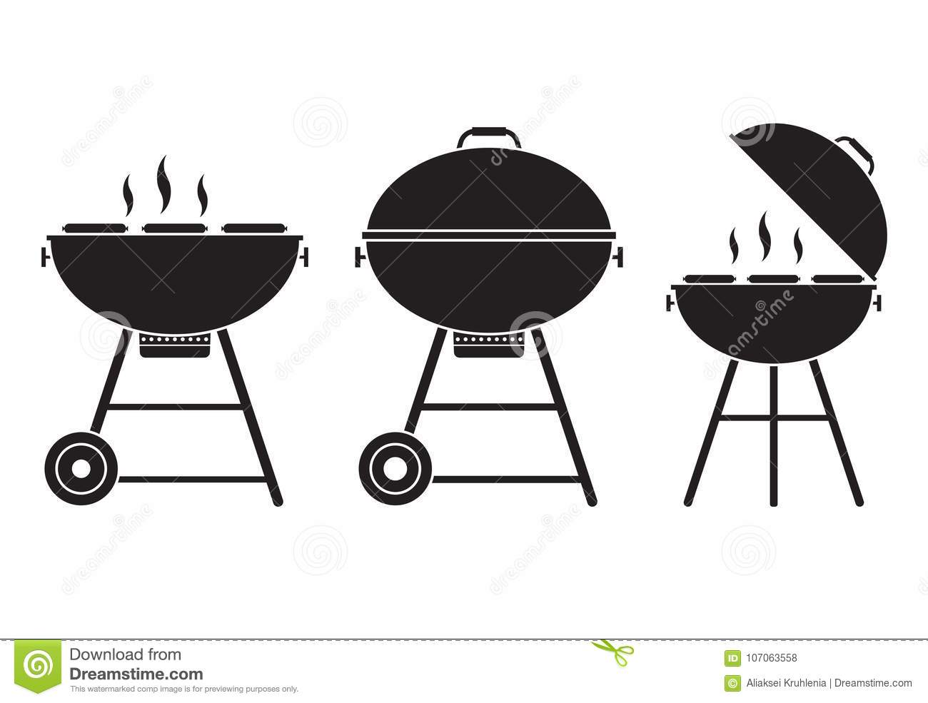 Barbecue Grill Vector Icon Stock Vector Illustration Of