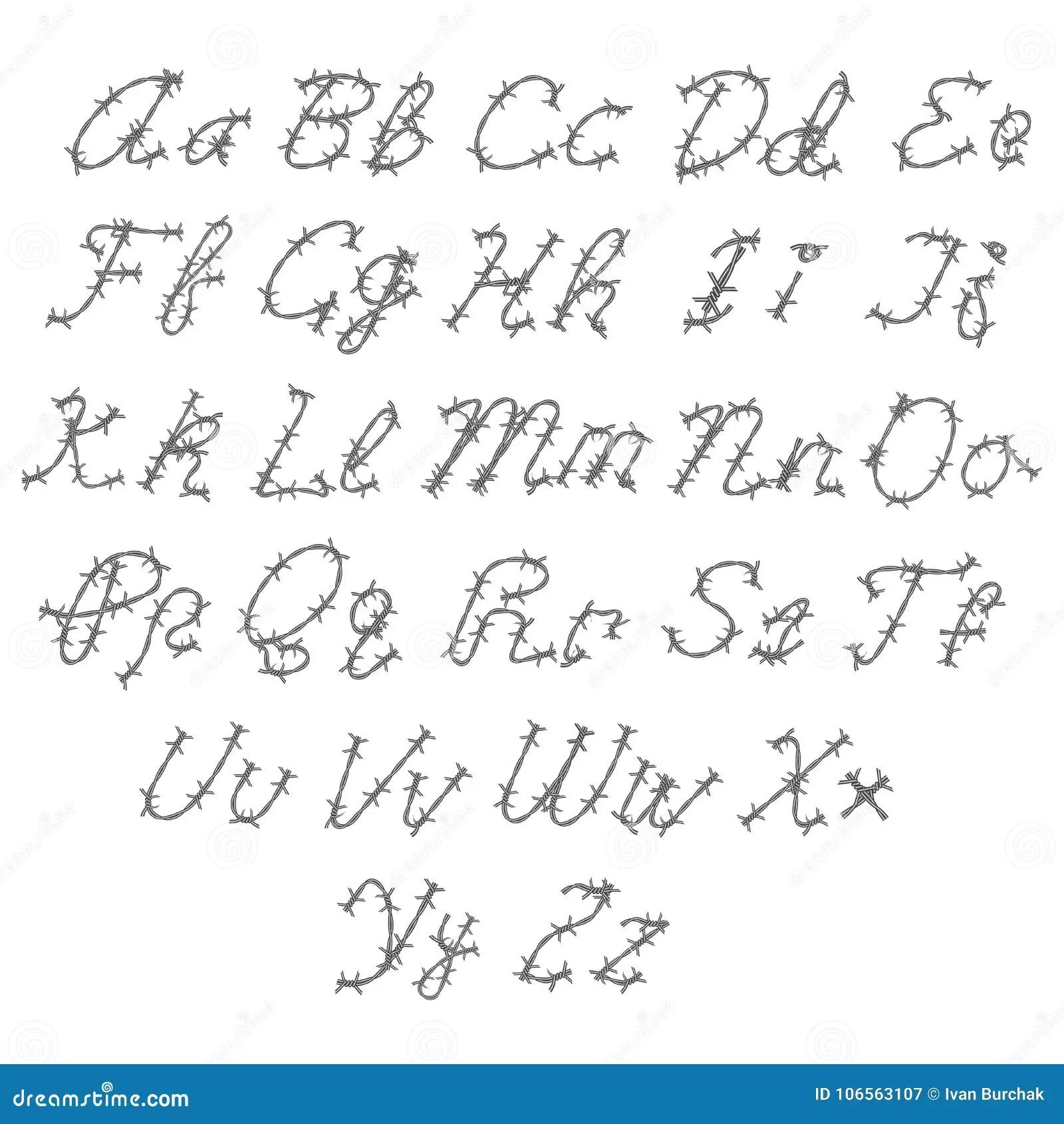 Barbed Wire Vector Font, Type, Alphabet Stock Vector