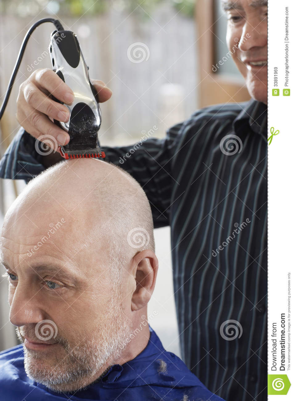 Barber Shaving Senior Mans Head Stock Image  Image 33891969