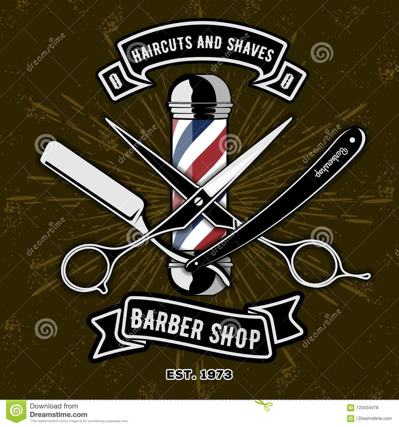 barber shop logo with