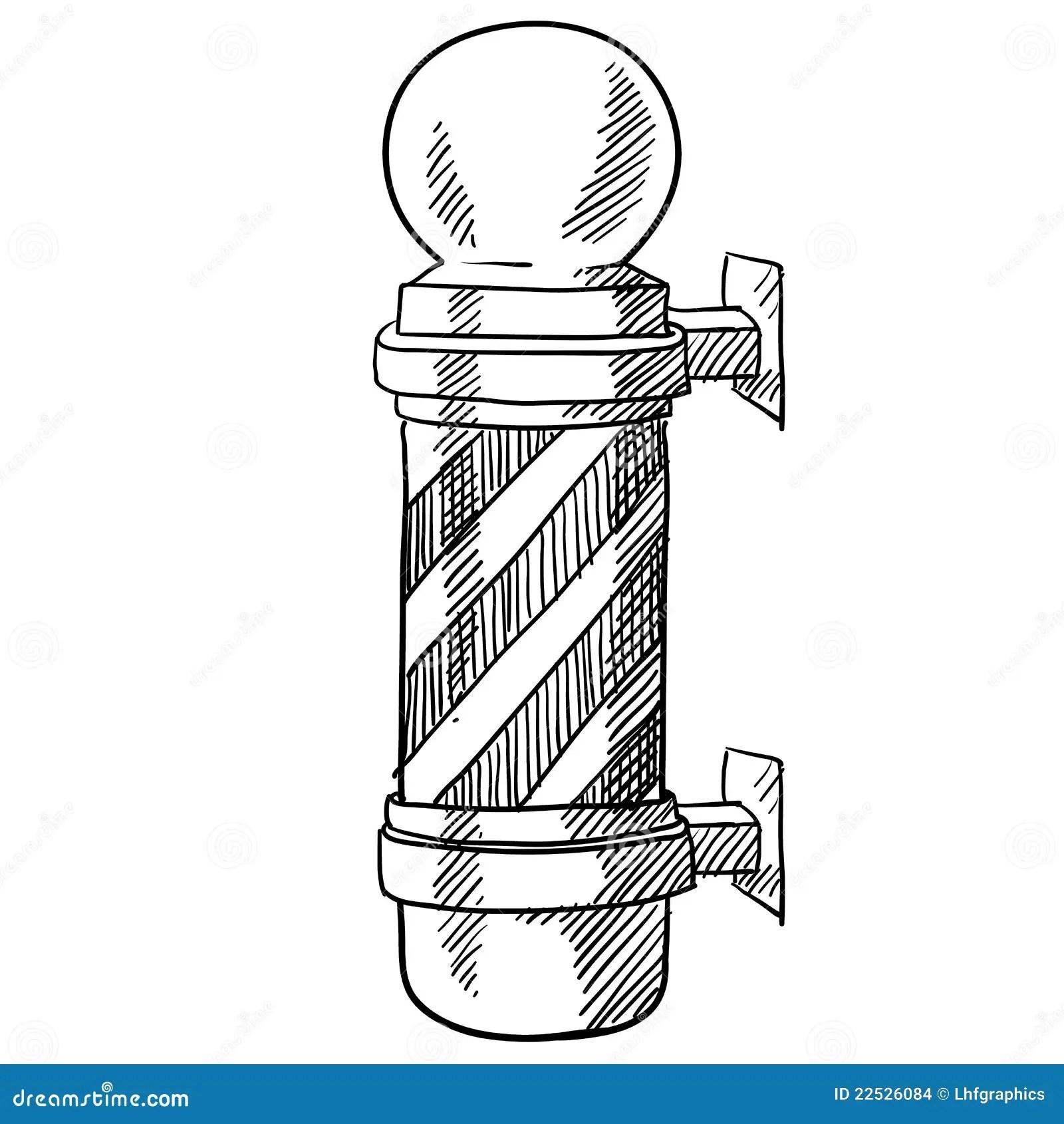 Barbershop Pole Sketch Stock Vector Illustration Of