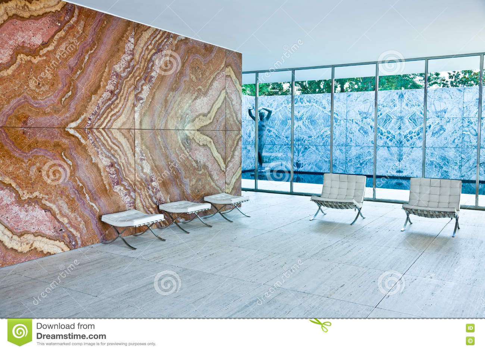 Barcelona Pavilion stock image Image of marble mies