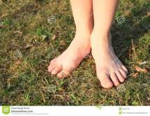 Bare Feet Grass Stock Of Barefooted