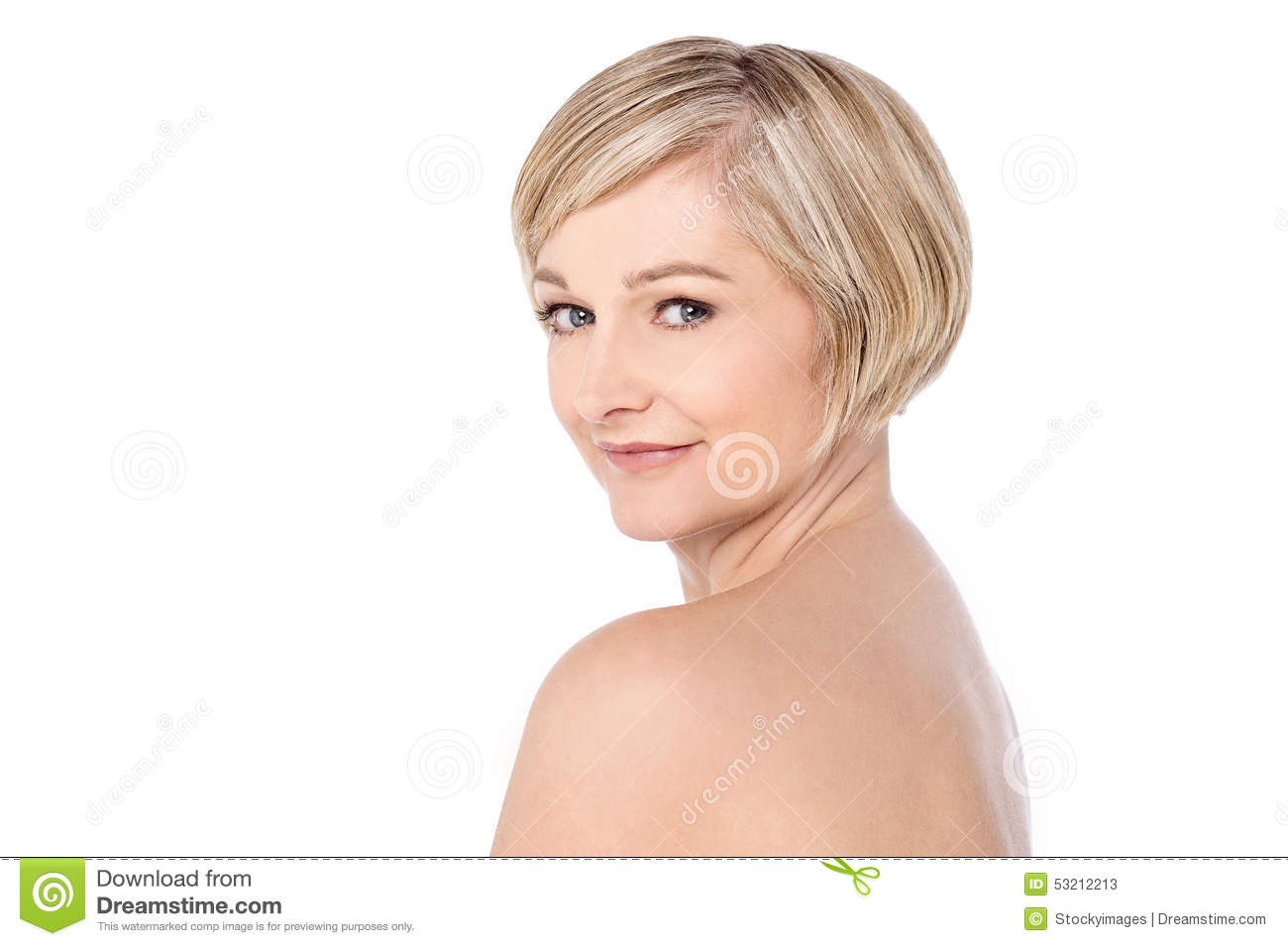 Bare Shoulder Woman Over White Stock Photo
