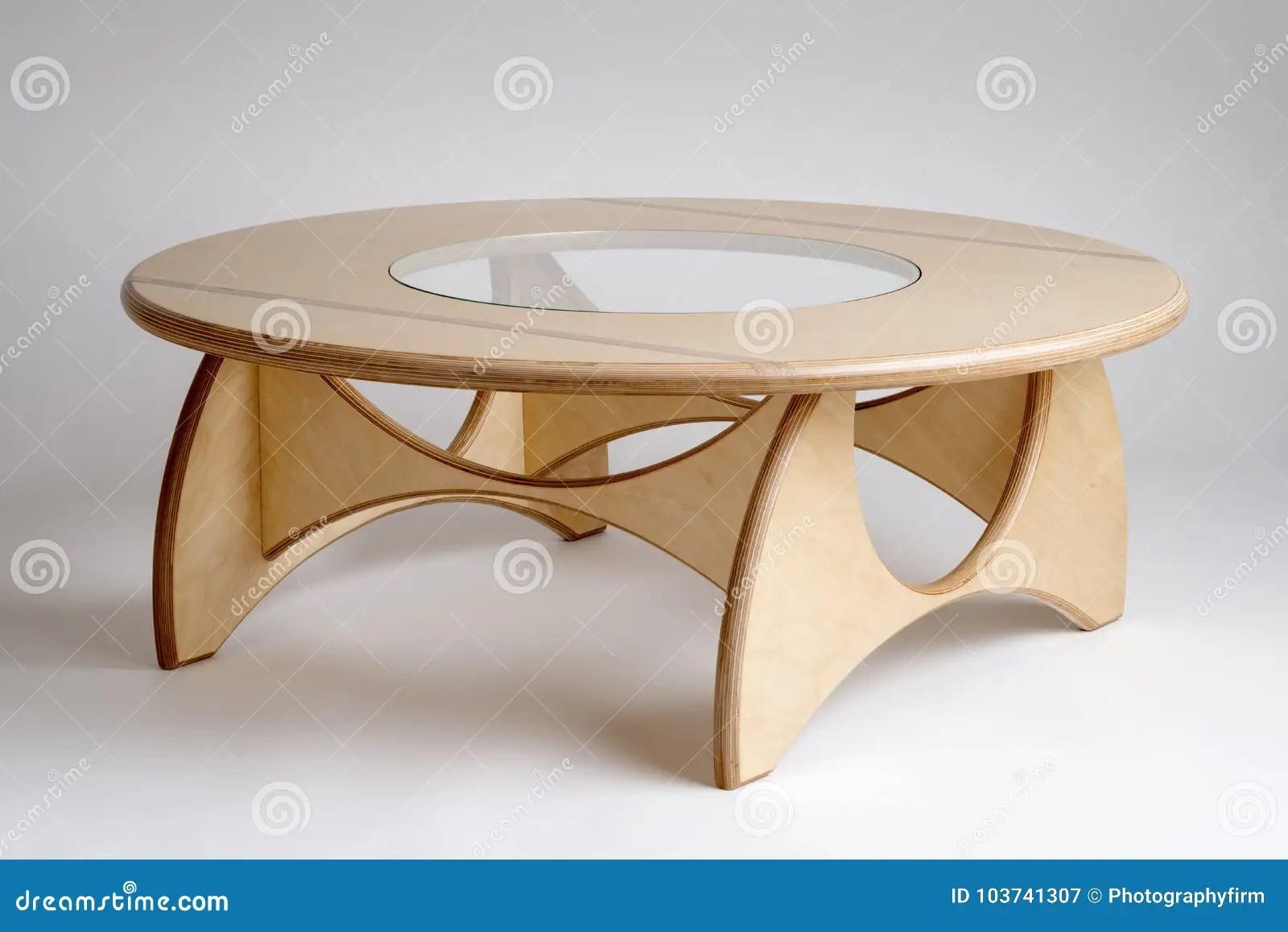 https www dreamstime com bare wood designer circular low table glass center bare wood designer round low table see glass center image103741307