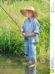 Barefoot Angler Boy Fishing Standing In Transparent
