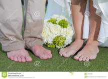 Barefoot Bride And Groom Stock Of Bouquet
