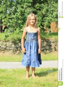 Barefoot Girl Blue Dress