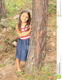 Barefoot Girl In Forest Stock Of Skirt White