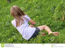 Barefoot Girl Grass Stock Of Hears