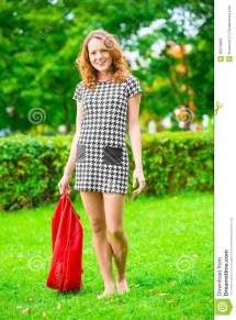 Barefoot Girl Walking Grass Stock