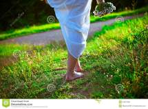Barefoot Girl Walking In Park Stock