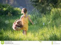 Happy Girl Walking Barefoot Royalty-free Stock