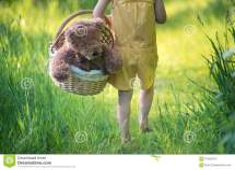 Happy Girl Walking Barefoot Royalty-free Stock