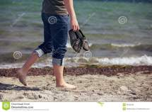 Man Walking Barefoot