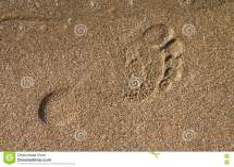 Barefoot Print Sand Seaside Royalty Free Stock