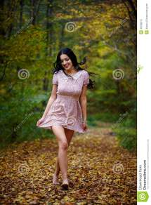 Barefoot Woman In Forest Stock - Of