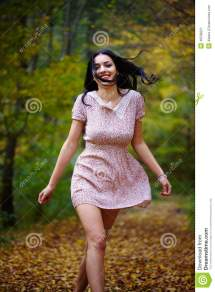 Barefoot Woman in Dress Forest