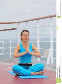 Barefoot Woman Sits Cruise Liner Deck Stock