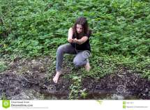 Barefooted Girl In Nature Stock Of Green