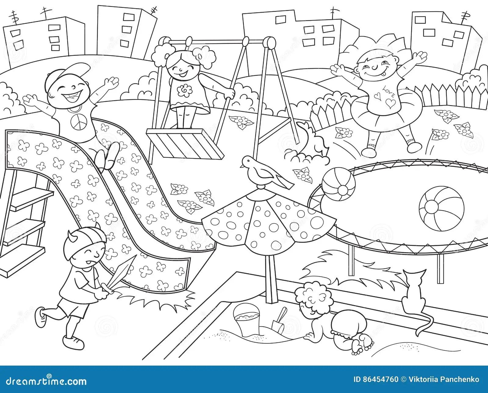 Barns Lekplatsfarglaggning Vektorillustration Av Svartvitt