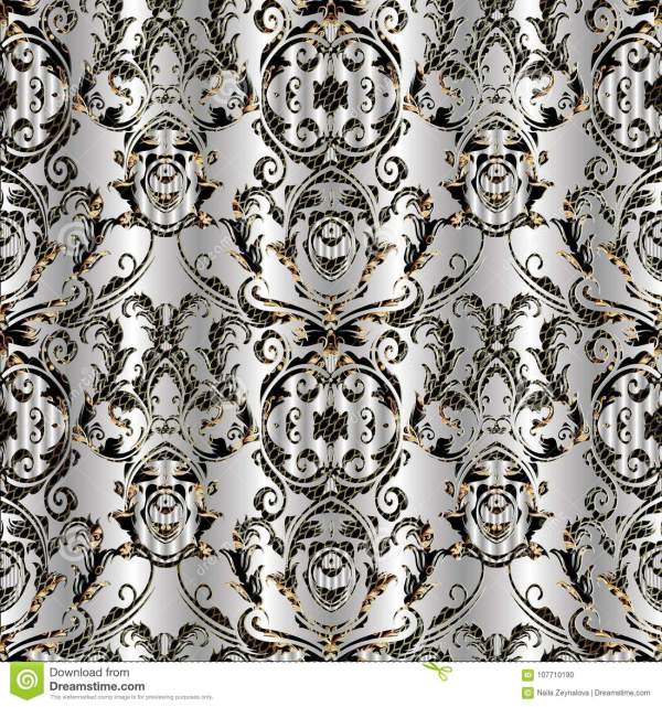 Baroque Damask Vector Seamless Pattern. Floral Silver