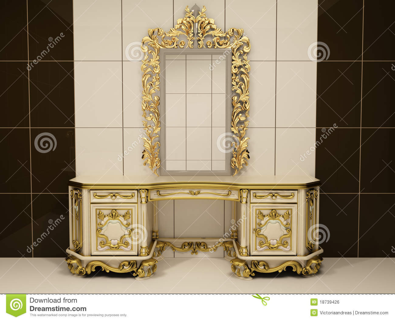 Baroque Gold Mirror With Royal Chest Royalty Free Stock