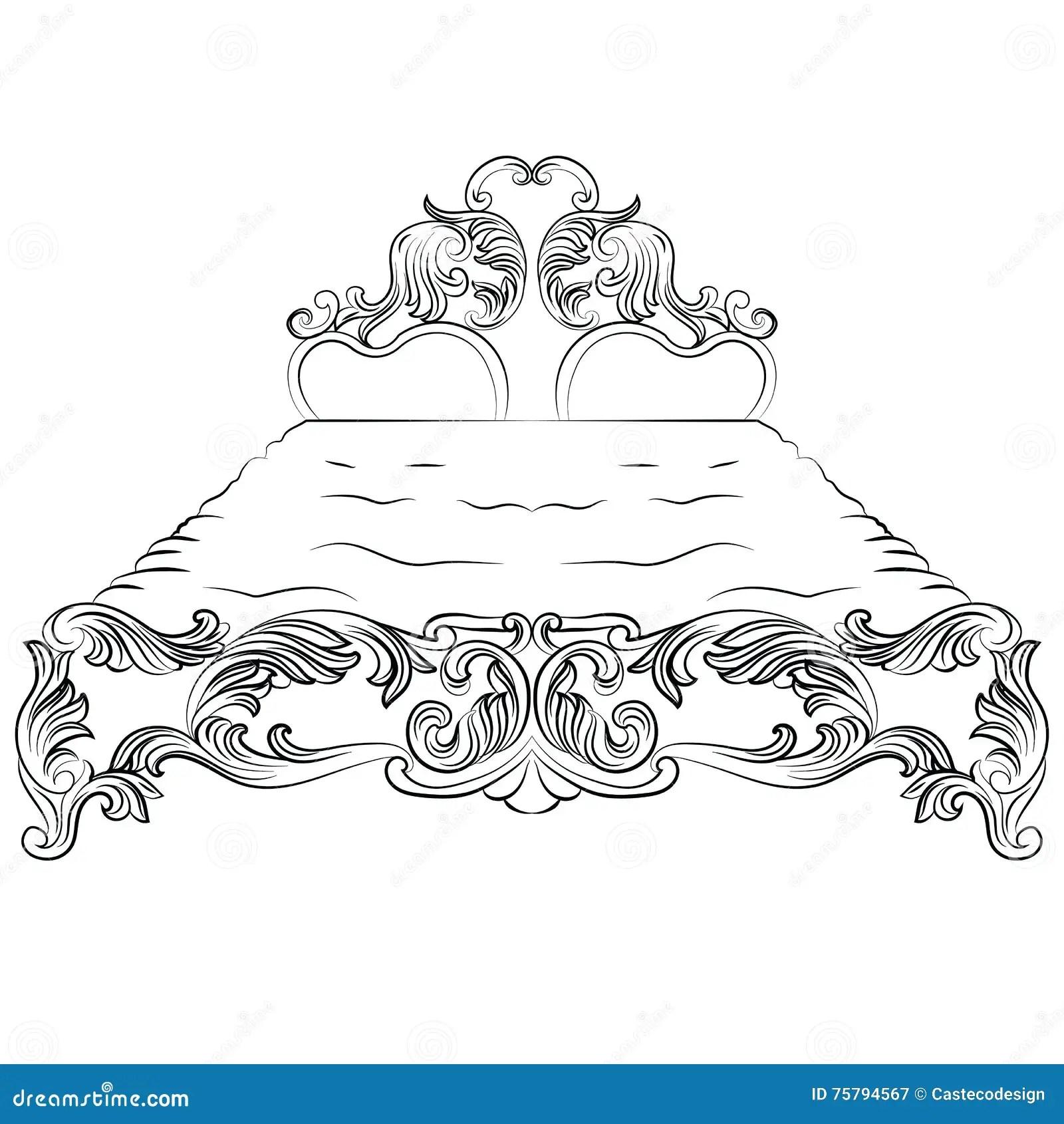 Baroque Luxury Style Furniture Cartoon Vector