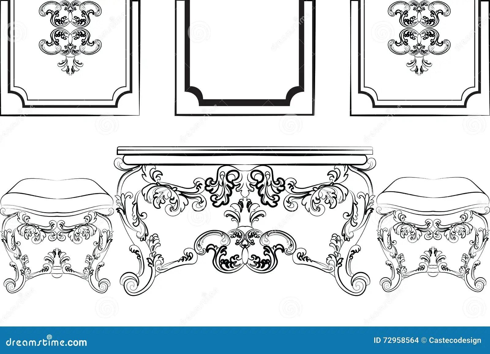 Baroque Royal Luxury Style Furniture Cartoon Vector