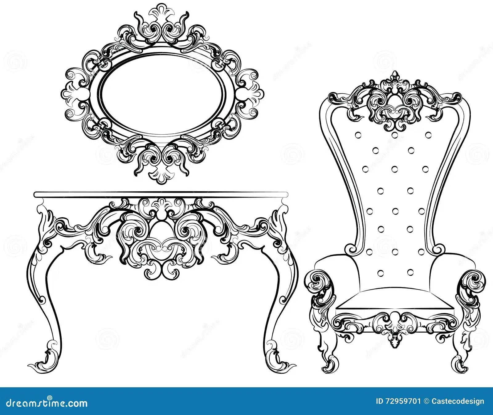 Baroque Royal Set Of Furniture Cartoon Vector