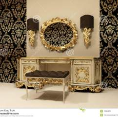 Antique Vanity Chair Used Barber Chairs Baroque Table With Mirror On The Wallpaper Backgro Royalty Free Stock Photo - Image: 18864935