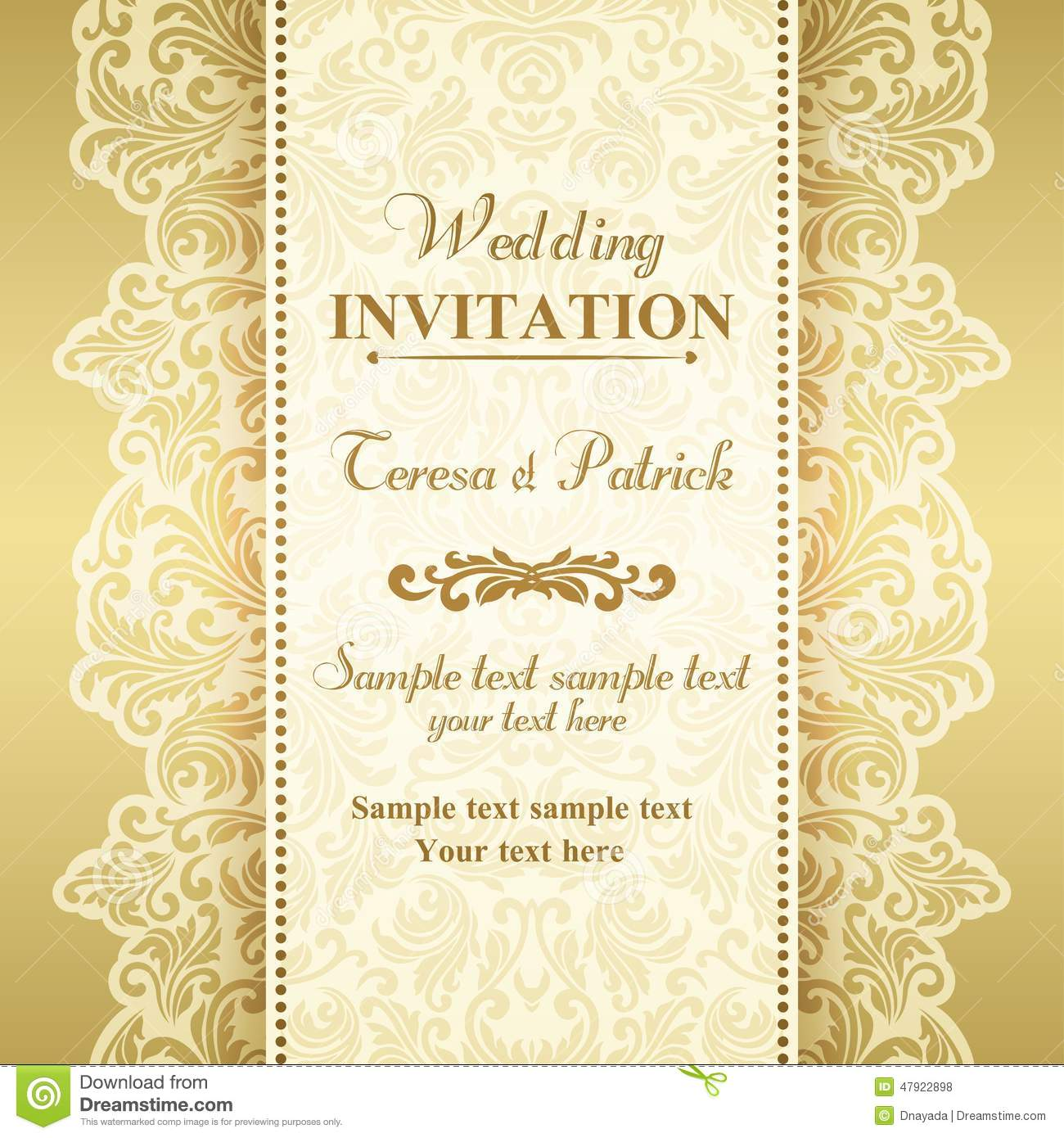 Baroque Wedding Invitation Gold And Beige Stock Vector