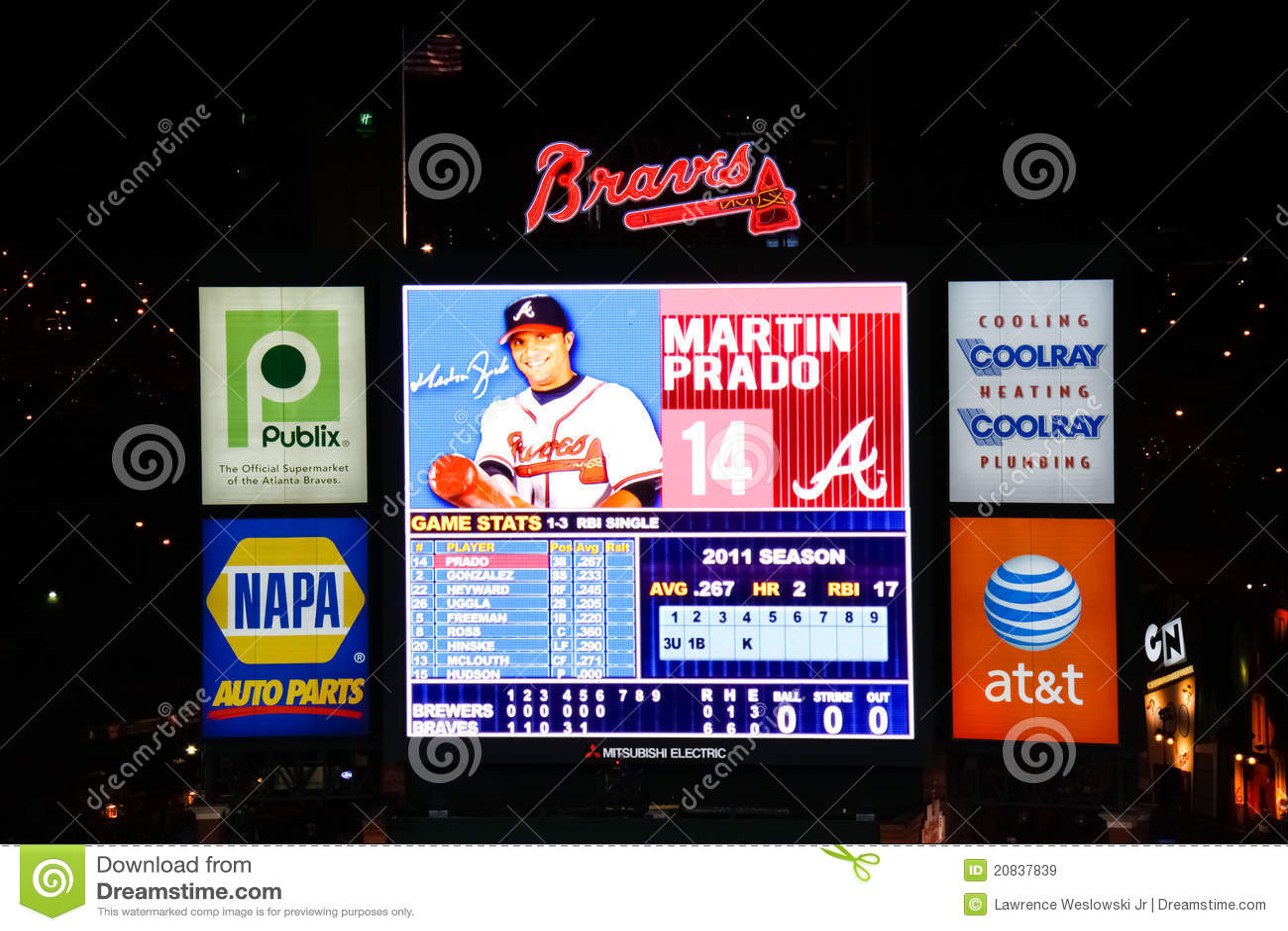 Baseball Atlanta Braves Turner Field Scoreboard Editorial
