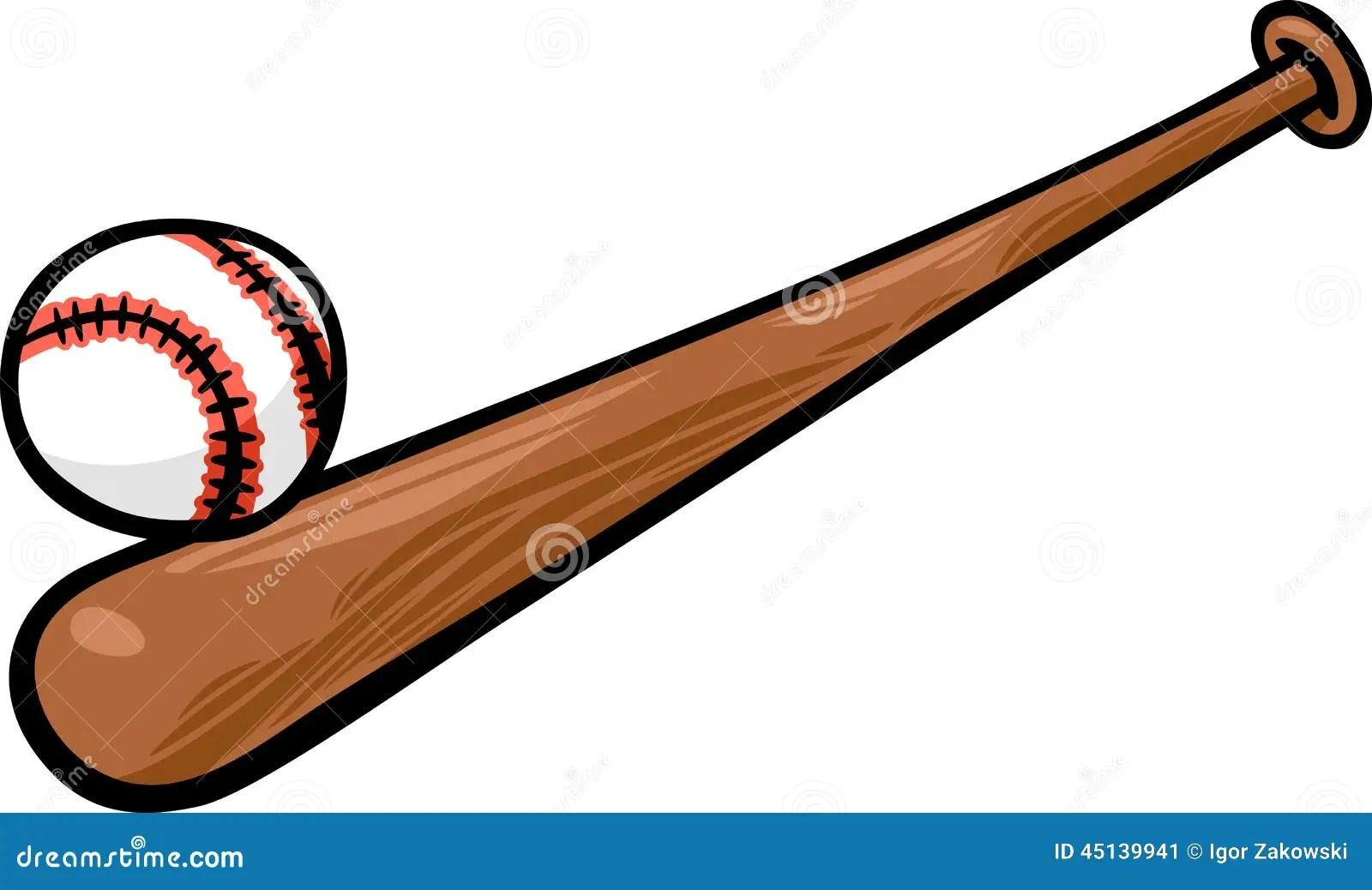 Baseball Ball And Bat Cartoon Clip Art Stock Vector