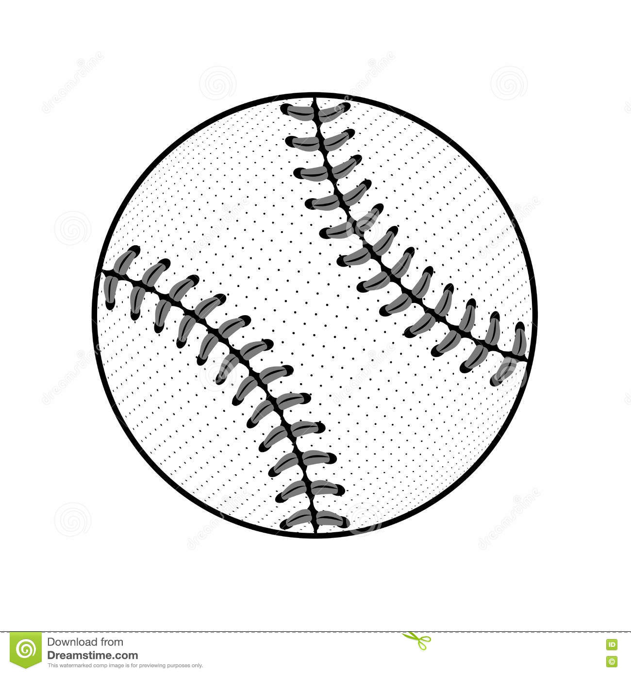 Baseball Ball Sign Black Isolated Stock Illustration