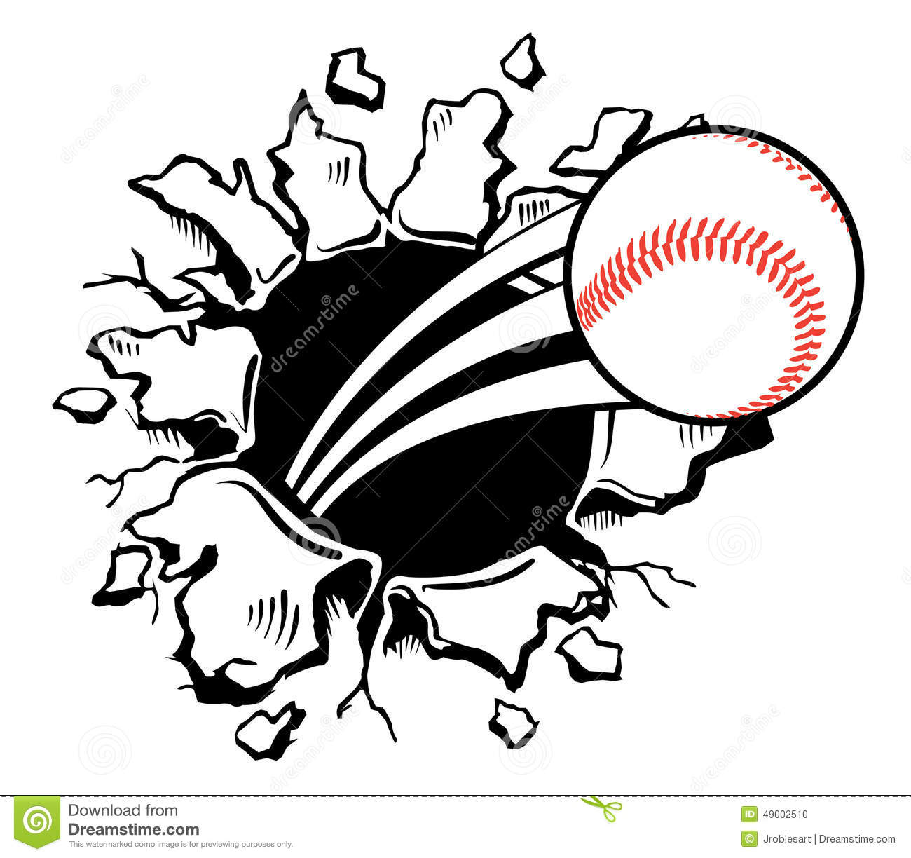 Baseball Busting Wall Stock Vector Illustration Of