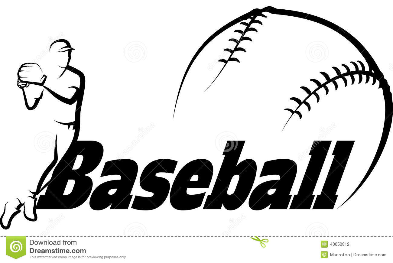 Baseball Player Throwing With Text & Ball Stock Vector