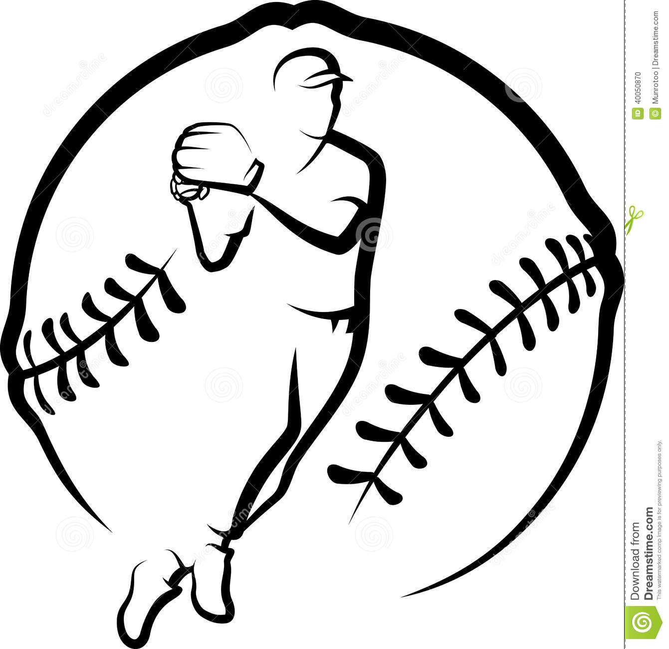 Baseball Player Throwing With Text & Stylized Ball Stock